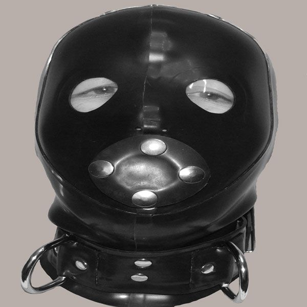 Bondage Hood with Removable  Gag and Plastic Eyes