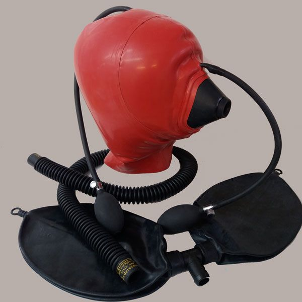 Red  Medical Mask Hood Inflatable